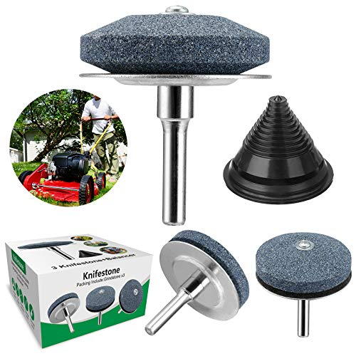 【2021 New】Universal LawnMower Blade Sharpener, lawn mower blade grindstone with Wear-resistant Steel backing for any electric drill for sharpening knives, garden, kitchen, courtyard-3Pack+Balancer