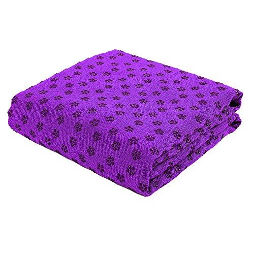 FLURYSAR Fitness Yogadecke Yoga Towel mit Rutschfester Oberfläche (Nopen) (Lila)
