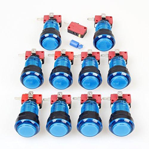 EG STARTS - 10 bottoni a forma di arco 30 mm, a LED pieno, con micro interruttore, per Arcade macchina Mame Jamma PC, giochi multicade, pezzi (blu)