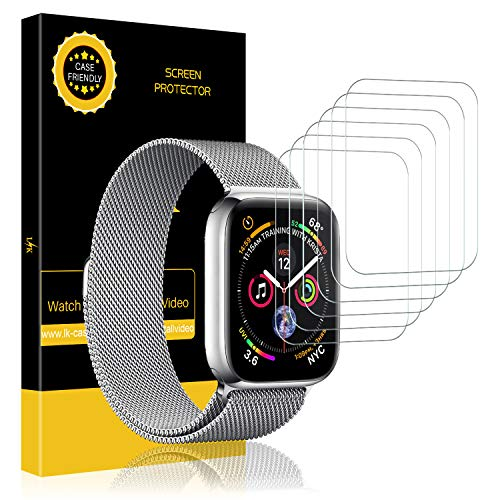 LK [6 Pack] Screen Protector for Apple Watch (42mm Series 3 2 1 44mm Series 5 4 Compatible) Max Coverage [Anti-Bubble] HD Clear Film