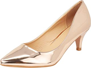 Cambridge Select Women's Classic Pointed Toe Low Kitten Heel Slip-On Pump