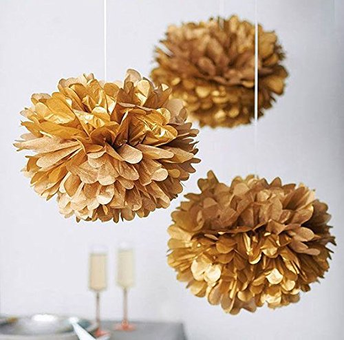Konsait Gold Twinkle Star Garland 25Feet& Gold Tissue Paper Pom Poms(6pcs), Sparkling Gold Star Banner Bunting and Gold Tissue Paper Flowers for Bridal Baby Showers Birthday Party Hanging Decorations
