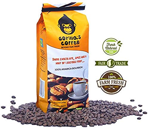 Gorilla Rwandan Coffee | No Bitter or After Taste | Fair Trade Coffee | Proceeds to Benefit Women of Rwanda (Espresso Beans, 1.1 LB)