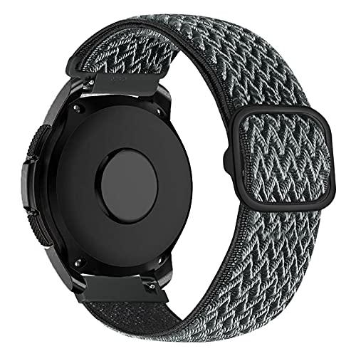 iBazal Correa Galaxy Watch 3 41mm Nylon 20mm Band Trenzada Compatible con Samsung Galaxy Watch Active2 40mm 44mm/Galaxy Watch 42mm Reemplazo para Huawei GT 2 42mm/GTR 42mm/GTS Pulsera Band - Gris