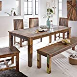 FineBuy Esszimmertisch KALKUTTA 180 x 90 x 76 cm | Massivholz Esstisch für 6-8 Personen | Großer Küchentisch Bootsholz Shabby Chic | Tisch Esszimmer rechteckig