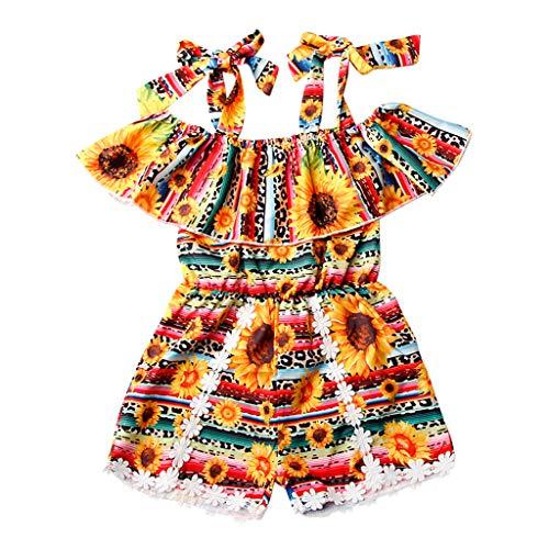 Baby Mädchen Kleidung Jumpsuit Rüschen Overalls Blumendruck Ärmellose Strampler Shorts Kleinkind Outfits, Gelb, 1-2 Jahre