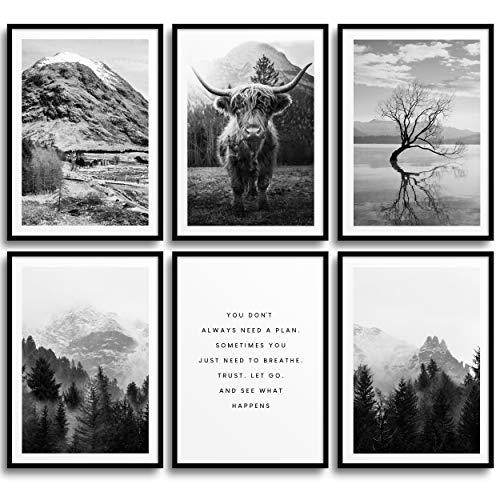 MONOKO® Wohnzimmer Poster Set - Schlafzimmer Bilder Set Premium - Stilvolle Wandbilder - 6er Set ohne Rahmen (Set Schwarz-weiss, Natur, Highland Cow, 6x A4 (21 x 29,7cm))