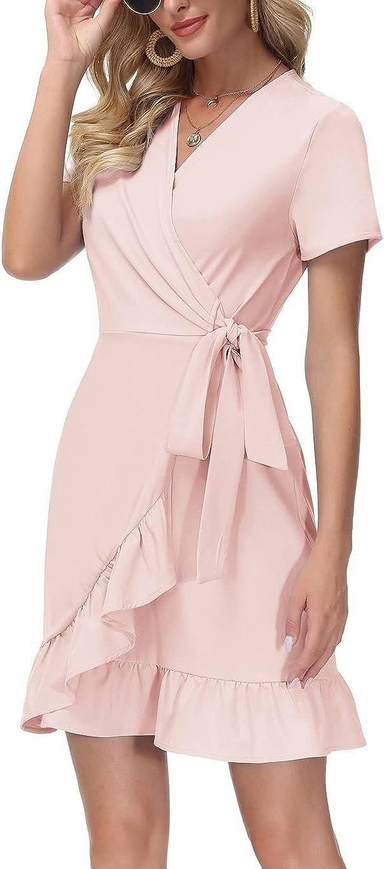 Kate Kasin Women Sale Mini Dress Wrap Shor V Summer Neck Casual Latest item