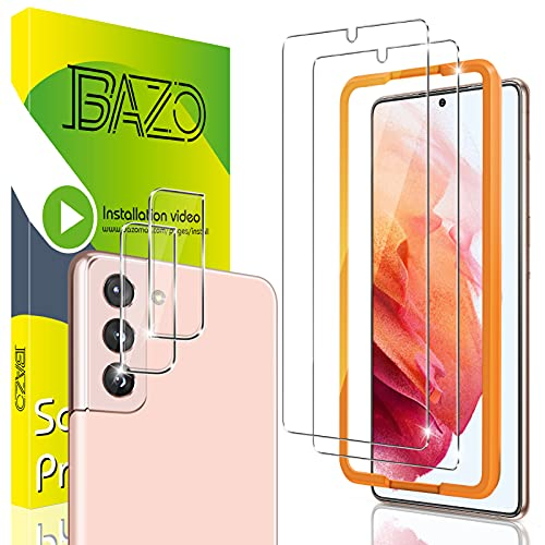 [2+2 Pack] BAZO Screen Protector Compatible for Samsung Galaxy S21 5G -6.2 inch + Camera Lens Protector and Easy Installation Frame - HD Clear - Tempered Glass - Shatter Proof - Case Friendly