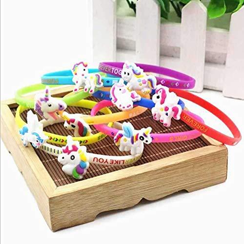 Ouken Unicorn Armbänder Armband, Unicorn Geburtstagsfeier bevorzugt Vorräte für Kindermädchen, Einhorn-Spielzeug Preise Geschenke, Gummiband Armband Zufalls Farbe 6 Packung