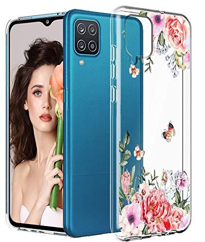 Funda para Samsung Galaxy A12 para mujeres y hombres, funda de silicona Samsung A12 resistente a los golpes con flores de silicona suave para Samsung A12 5G funda para Samsung Galaxy A12 2021 Sport
