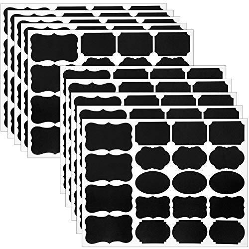 黒板ラベル Wisdompro ラベルステッカー 再利用可能 メイソンジャー/香辛料/ガラス/カップ/ボトルに対応 防水黒板シール 10シート 190枚入り 組み合わせ形状 【ブラック】
