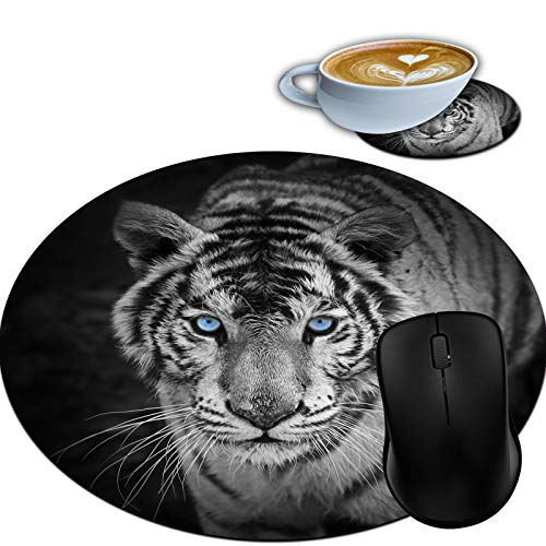 Gaming Mouse Pad, Round Mouse Mat, Non-Slip Rubber Base Desktop Mousepad and Coaster Set, Small Size 7.9 x 7.9 x 0.1 Inch- White Tiger Blue Eyes