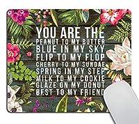 水彩ヴィンテージ花柄マウスパッド花マウスパッド素朴な古い木-あなたは私のバターにピーナッツ 18x22cm