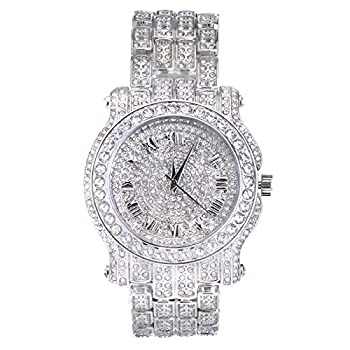Techno Pave Totally Iced Out Pave Silver Tone Hip Hop Men s Bling Bling Watch