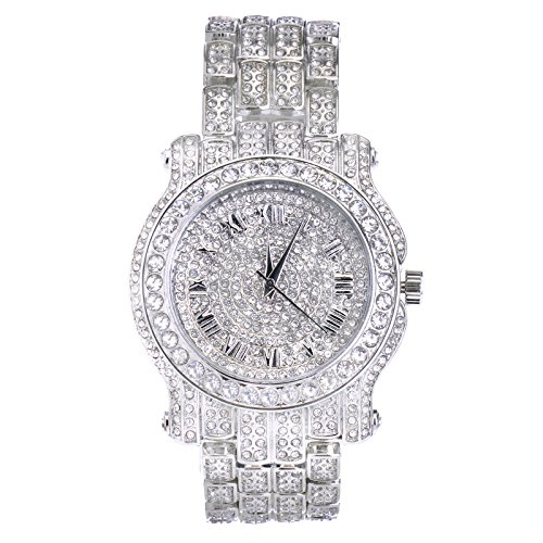 Techno Pave Totally Iced Out Pave Silver Tone Hip Hop Men's Bling Bling Watch