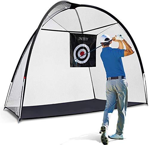 INTEYGolfNet10'x7'GolfPracticeNet,PortableGolfHittingTrainingNetforKidsandAdults,PerfectTraining Aids Nets for Indoor Outdoor Garage Backyard Home Driving Range with Carry Bag