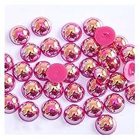 SHUOYUE MMアクリルビーズ真珠の模倣半分ラウンドフラットバック色ビーズのための宝石作り (Color : Rose Red, Size : 6mm x 100Pcs)