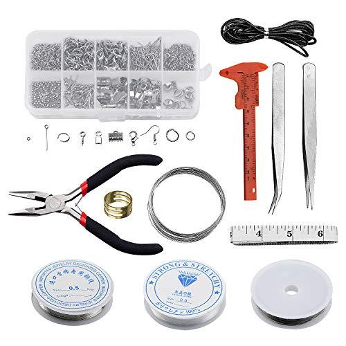 FEIGO Schmuckherstellung Set, Schmuck Reparatur Kit, Schmuck Basteln Zubehör mit Zange, Pinzette, Silber Zubehör und Draht für Ohrring Armband Halsketten
