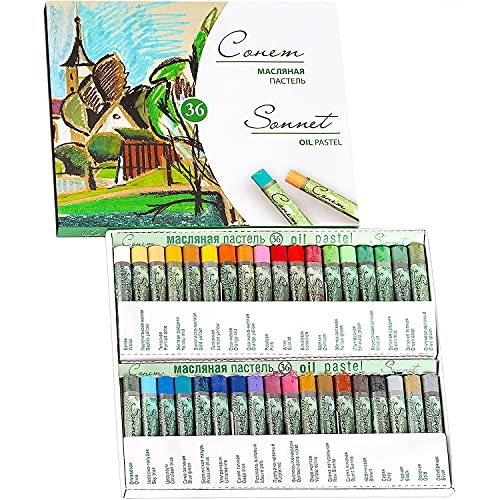 Sonnet - Juego de 36 tizas pastel al óleo | Fija sin fijador | Para papel de color, cartón, madera, cerámica o lienzo | Fabricado en Rusia por Neva Palette