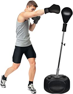 Protocol Boxing Ball Set with Punching Bag, Boxing Gloves, Hand Pump & Adjustable Height Stand - Strong Durable Spring Withstands Tough Hits for Stress Relief & Fitness