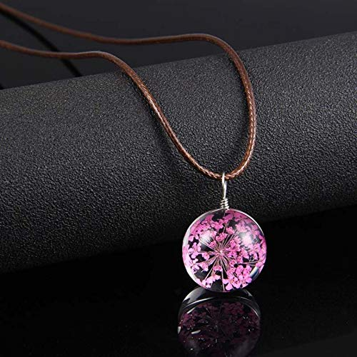 Earthily Handmade Necklaces 2pcs Commemorative Meaning Cute Dried Flower Pendant Necklace Glass Ball Leather Rope Chain Necklace For Women Good Luck Charm Jewelry (Color : Round, Size : 2pcs)