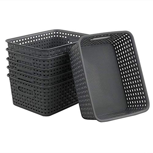 Neadas Plastikkorb Aufbewahrungskorb Kunststoffkörbe Körbchen Haushaltskorb, Grau, 6 Stück