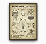 Erti567an Tesla Inventions Wandkunst-Poster, Nikola Tesla,