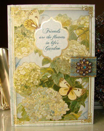 Punch Studio Brooch Journal 93751 Hydrangeas & Moths 'Friends are the Flowers in Life's Garden' Personal Diary