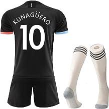 Camisetas de fútbol para niños, Conjunto de Top y Pantalones Cortos de fútbol para niños, Silva 21, Kun 'Agüero 10, Jersey de Bruyne 17 Swingman para Manchester City Away City Football Uniform To