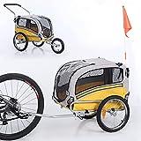 Sepnine Leonpets 2 in 1 Dog Stroller Pet Dog Bike Trailer Bicycle Trailer and Jogger,Easy Fold 20303 (Yellow/Grey)
