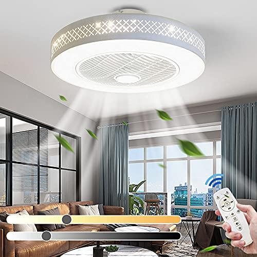 Ventilador de techo con luces Control remoto y aplicación Velocidades de viento ajustables Luz de techo regulable de 3 colores con temporizador de ventilador para sala de estar Comedor Ø55cm
