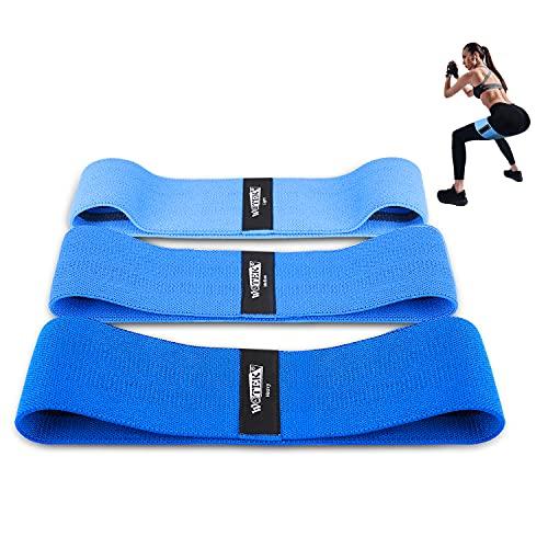 Bandas Elasticas Gluteos, Juego de 3 Bandas Elásticas Musculacion para Fitness con 3 Niveles, Resistencia Antideslizante para Piernas y Glúteos, Pilates,Yoga,Fuerza,Fisioterapia,Estiramientos-Azul