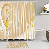 MTevocon Duschvorhang Sets mit rutschfesten Teppichen,Abstrakte Lotusblumenknospen der modernen Kunst mit langem Wirbelstamm-Champagner-Hintergr&, Badematte + Duschvorhang mit 12 Haken