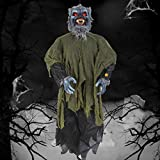 "Halloween Decorations - 43"" Life-Size Horror Werewolf Hanging Ghost with Horror Sound and Glowing Eyes Outdoor Haunted House Halloween Decoration Horror Props Home Door Bar Decor (Black)"
