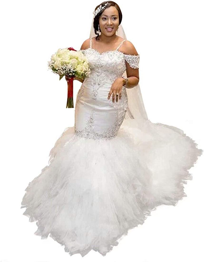 QueenBridal Off Shoulder Beaded Spaghetti Starps Mermaid Wedding Dresses for Bride QBL080
