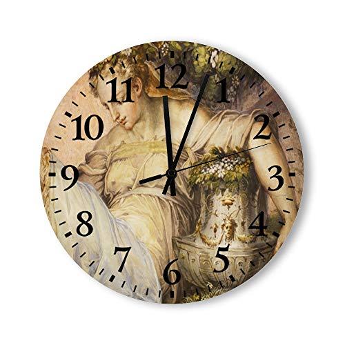 DKISEE Reloj de pared redondo de cuarzo silencioso para mujer, con jarrón de madera, para dormitorio, sala de estar, hogar, 30,4 x 30,4 cm