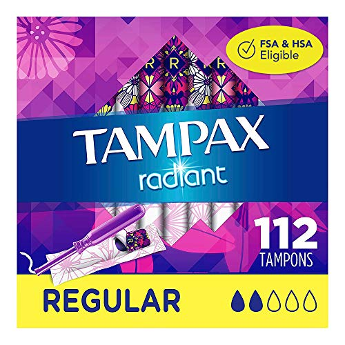 Tampax Radiant Plastic Tampons Regular Absorbency Unscented 28 Count Pack of 4 112 Count Total Packaging May Vary