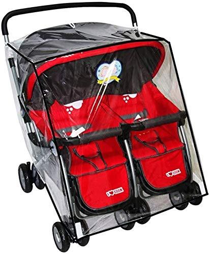 Universal Regenschutz für Zwillinge Doppelkinderwagen Geschwister-Buggy Falrbar Leicht mit Sichtfenster Reißverschluss für Kinderwagen Baby Staubdicht Winddicht Windschutz