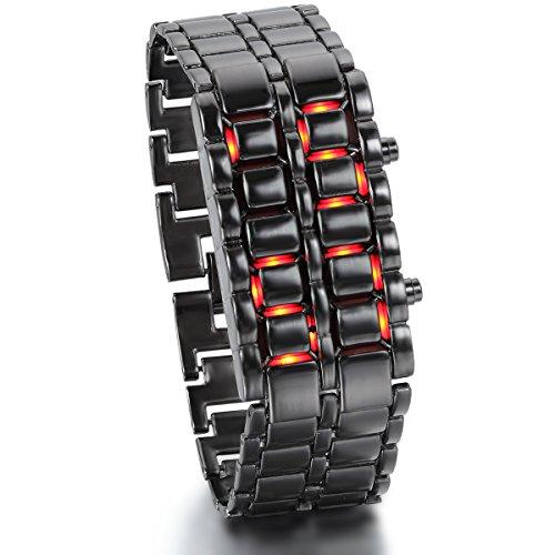 JewelryWe Herren Armbanduhr, Rot LED Digitaluhr Uhr Sportuhr Schwarz Armband Unisex Samurai Watch
