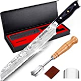 MOSFiATA Professional Serrated Bread Knife for Homemade Bread 8 inch High Carbon Stainless Steel Sharp Blades Full Tang Knife Set with Ergonomic Wooden Handle Bread Cutter Knife Cake Knife with Cover