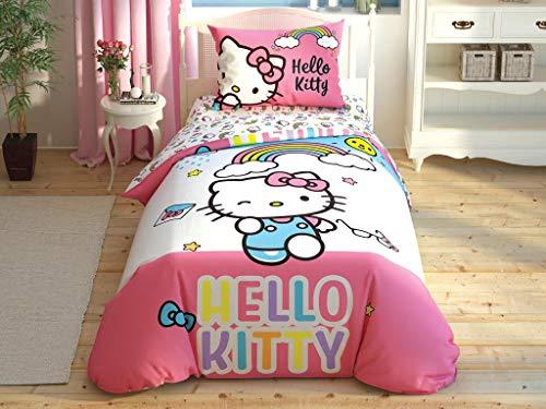TAC 100% cotone con licenza 3 pezzi, set copripiumino singolo Hello Kitty Rainbow (senza piumino)