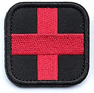 Embroidered Medic Cross Tactical Patch with Backing Decorative Badge Appliques (Black/Red)