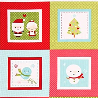 red-green Christmas fabric by Doodlebug Design with snowman, train, candy cane, wreath, gingerbread man and house etc. (per 0.5 yard unit)