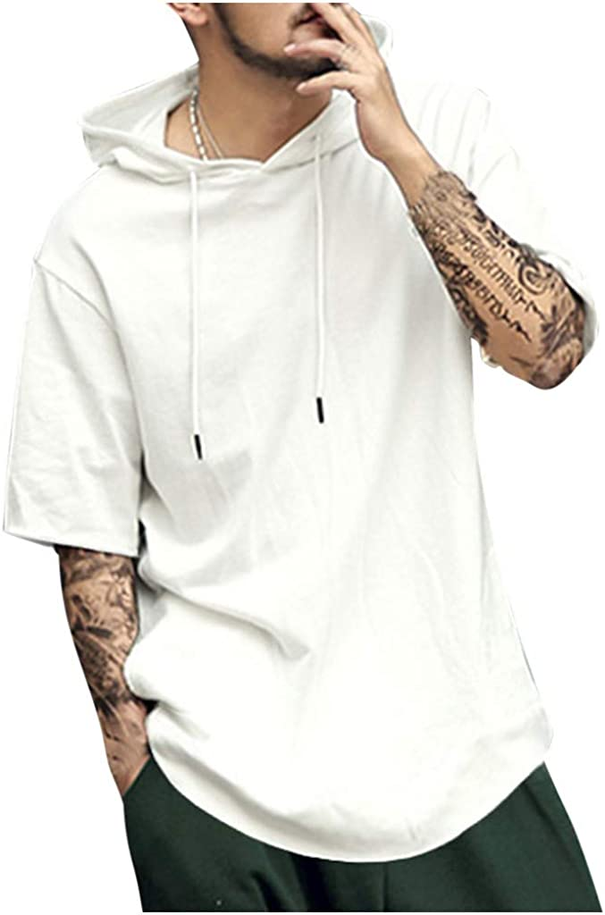 Gergeos Men's Short Sleeve Pure Color Drawstring Hooded Shirts Fashion Comfortable Casual Tee Hoodies