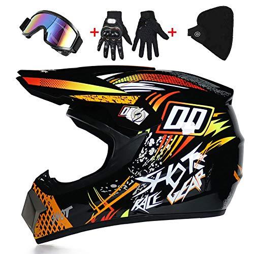 Helm Motocross, D.O.T gecertificeerd Cross Off-Road Dirt Bike Scooter ATV (gratis oculairen + handschoenen + maskers) Crash motorfiets beschermende Gear -LWAJ