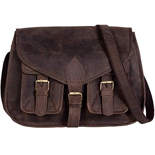 KPL 14 Inch Leather Purse Women Shoulder Bag Crossbody Satchel Ladies Tote Travel Purse Genuine Leather (Distressed Tan Buffalo Leather)