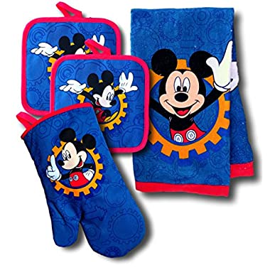 Disney Mickey Mouse & Minnie Mouse 4 Piece Kitchen Set with Oven Mitt, 2 Pot Holders, and Towel Set (Mickey Mouse)
