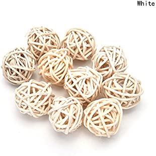 10 Pieces/Set Rattan Wicker Ball Decoration Ornaments Wedding Christmas Party Table Desk Garden Hanging Decoration,White,3cm
