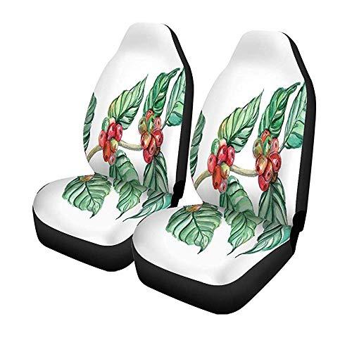 Beth-D Set van 2 autostoelhoezen plant aquarel en groene koffiebonen op tak Universal Auto Front Seats Protector 14-17IN